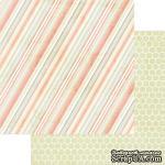 Лист скрапбумаги My Mind's Eye -  Be Happy Striped Pink, 30х30 см, двусторонняя - ScrapUA.com