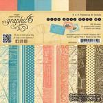 Набор скрапбумаги Graphic 45 - Come Away With Me - Patterns & Solids Pad, 15х15 см, двусторонняя, 12 листов - ScrapUA.com