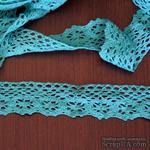 Кружево х/б, вязаное, цвет бирюзовый, ширина 4 см, длина 90 см - ScrapUA.com