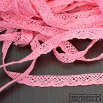Кружево х/б, вязаное, цвет розовый, ширина 1.2 см, длина 90 см - ScrapUA.com