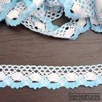 Кружево х/б, вязаное, цвет бело-голубой, ширина 2.5 см, длина 90 см - ScrapUA.com