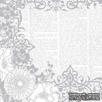 Лист бумаги HOTP - Color Me Silver Flowers and Words - для работы в технике резист, 30х30 см - ScrapUA.com