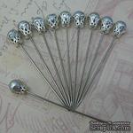 Декоративная булавка, цвет серебро, 1 шт. - ScrapUA.com