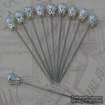 Декоративная булавка, цвет белый, 1 шт. - ScrapUA.com