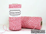 Хлопковый шнур от Divine Twine - Peppermint, 1 мм, цвет розовый/белый/красный, 1м - ScrapUA.com