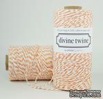 Хлопковый шнур от Divine Twine - Orange, 1 мм, цвет оранжевый/белый, 1м - ScrapUA.com
