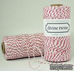 Хлопковый шнур от Divine Twine - Cherry, 1 мм, цвет красный/белый, 1м - ScrapUA.com