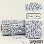 Хлопковый шнур от Divine Twine - Blueberry, 1 мм, цвет голубой/белый, 1м - ScrapUA.com