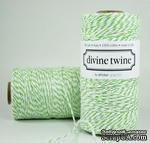 Хлопковый шнур от Divine Twine - Green Apple, 1 мм, цвет салатовый/белый, 1м - ScrapUA.com