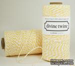 Хлопковый шнур от Divine Twine - Lemon, 1 мм, цвет желтый/белый, 1м - ScrapUA.com