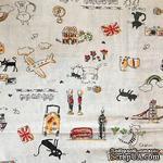 Ткань для рукоделия от Hobby&You, 50x50см (лен с принтом) - Коты - ScrapUA.com