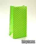 Набор подарочных пакетов от ScrapBerry's - Горошек зеленый, 190х95х65мм, 100 г/м2, 5 шт - ScrapUA.com