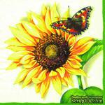 """Салфетка """"Подсолнух и бабочка"""", цвет кремовый, 33х33см, 1 шт. - ScrapUA.com"""