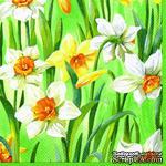 """Салфетка для декупажа """"Нарциссы"""", цвет фона: светлый зеленый, размер: 33х33 см - ScrapUA.com"""