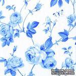 """Салфетка для декупажа """"Плетение ветвей и розы"""", цвет фона: белый и голубой, размер: 33х33 см - ScrapUA.com"""