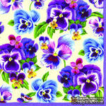 """Салфетка для декупажа """"Фиалки"""", цвет фона: кремовый, размер: 33х33 см - ScrapUA.com"""