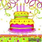 """Салфетка для декупажа """"Яркий торт"""", цвет фона: белый, размер: 33х33 см - ScrapUA.com"""