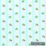 """Салфетка для декупажа """"Цветы, ситец"""", цвет фона: голубой, размер: 33х33 см - ScrapUA.com"""