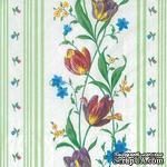"""Салфетка для декупажа """"Тюльпаны плетение"""", цвет фона: зеленый, размер: 33х33 см - ScrapUA.com"""