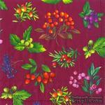"""Салфетка для декупажа """"Лесные ягоды: веточки"""", цвет фона: бордовый, размер: 33х33 см - ScrapUA.com"""