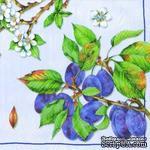 """Салфетка для декупажа """"Ветки спелой сливы и цветущие ветви"""", цвет фона: голубой, размер: 33х33 см - ScrapUA.com"""