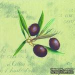 """Салфетка для декупажа """"Веточка оливы"""", цвет фона: оливковый, размер: 33х33 см - ScrapUA.com"""