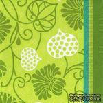 """Салфетка для декупажа  """"Узоры из листвы"""", цвет фона: зеленый, размер: 33х33 см - ScrapUA.com"""
