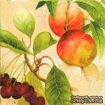 """Салфетка для декупажа """"Персики и вишни на ветвях"""", цвет фона: абрикосовый, размер: 33х33 см - ScrapUA.com"""