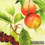 """Салфетка для декупажа """"Персики и вишни на ветвях"""", цвет фона: кремовый, размер: 33х33 см - ScrapUA.com"""