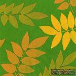 """Салфетка для декупажа """"Осенняя листва (силуэты)"""", цвет фона: зеленый, размер: 33х33 см - ScrapUA.com"""