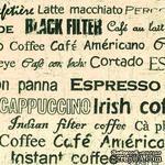 """Салфетка для декупажа """"Надписи про кофе"""", цвет фона: бежевый, размер: 33х33 см - ScrapUA.com"""