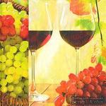 """Салфетка для декупажа """"Вино ля двоих: бокалы, виноград"""", размер: 33х33 см - ScrapUA.com"""