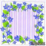 """Салфетка для декупажа """"Фиалки, рамочка"""", цвет фона: фиолетовый, размер: 33х33 см - ScrapUA.com"""