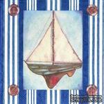 """Салфетка для декупажа """"Парусник"""", цвет фона: синий/белый, размер: 33х33 см - ScrapUA.com"""