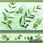 """Салфетка для декупажа """"Оливки"""", цвет фона: зеленый, размер: 33х33 см - ScrapUA.com"""