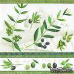 """Салфетка для декупажа """"Оливки"""", цвет фона: белый, размер: 33х33 см - ScrapUA.com"""
