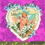 """Салфетка для декупажа """"Сердце с ангелом"""", цвет фона: розовый, размер: 33х33 см - ScrapUA.com"""