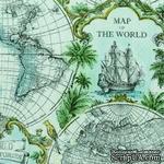 """Салфетка для декупажа """"Карта мира"""", цвет фона: голубой, размер: 33х33 см - ScrapUA.com"""