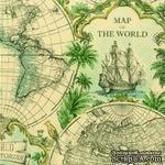 """Салфетка для декупажа """"Карта мира"""", цвет фона: охра, размер: 33х33 см - ScrapUA.com"""