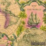 """Салфетка для декупажа """"Карта мира"""", цвет фона: терракотовый, размер: 33х33 см - ScrapUA.com"""