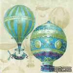 """Салфетка для декупажа """"Воздушные шары"""", цвет фона: кремовый, размер: 33х33 см - ScrapUA.com"""