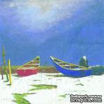 "Салфетка для декупажа ""Лодки на песке"", размер: 33х33 см - ScrapUA.com"