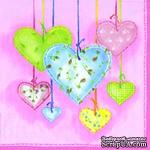 """Салфетка для декупажа """"Тканевые сердечки"""", цвет фона: розовый светлый, размер: 33х33 см - ScrapUA.com"""