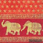 """Салфетка для декупажа """"Марани, Индия"""", цвет фона: красный, размер: 33х33 см - ScrapUA.com"""