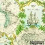 """Салфетка для декупажа """"Карта мира"""", цвет фона: кремовый, размер: 33х33 см - ScrapUA.com"""