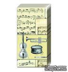 """Салфетка для декупажа """"Музыкальные инструменты и ноты"""", цвет фона: кремовый, размер: 33х33 см - ScrapUA.com"""