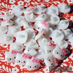 "Белая пуговичка ""Hello Kitty"",  10мм, 1 шт. - ScrapUA.com"