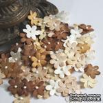 Плоские цветочки, микс цветов: коричневый, 1,5 см - ScrapUA.com
