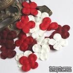 Гортензия, микс цветов: красный и белый, 2,5 см, 20 шт. - ScrapUA.com