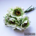 Цветок мака, бело-зеленый, 1 шт. - ScrapUA.com